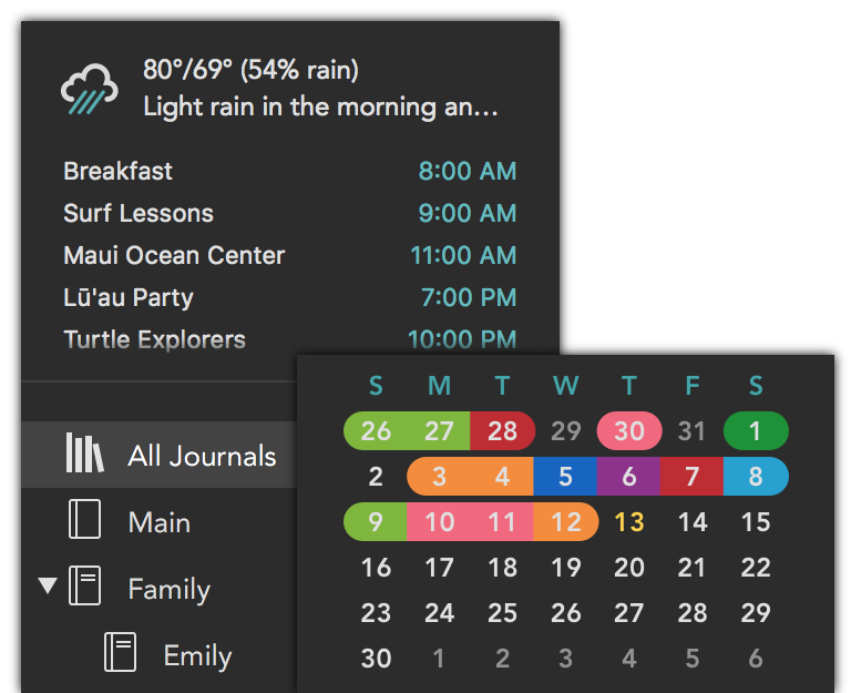 Lifecraft sidebar showing weather and schedule.